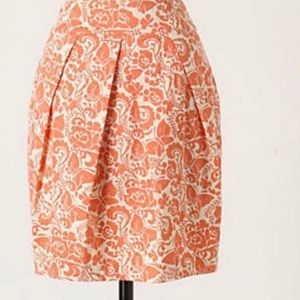 Anthro odille butterfly orange cream floral skirt